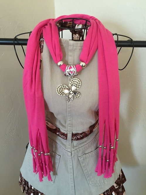 Jewelry Scarf Pink Butterfly Pendant