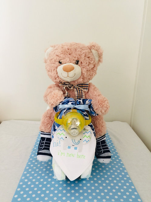 Teddy Bear Tricycle Diaper Cake