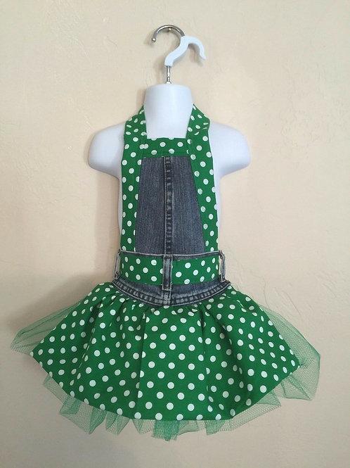 Kids Size Full Apron  Green Polka Dot