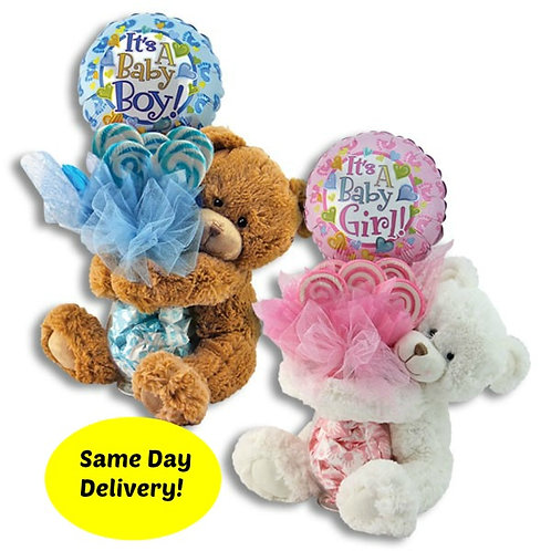 New Baby Teddy Bear & Lollipop gift set