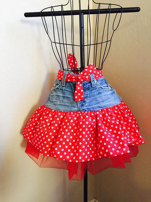 Red Polka Dot Jean Half Apron W/Petticoat