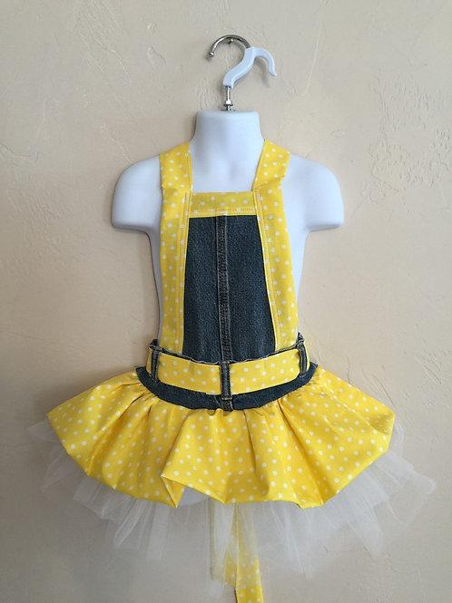 Kids Size Full Yellow Polka Dot Jean Apron