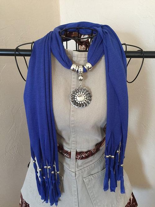 Jewelry Scarf Blue Circle Pendant
