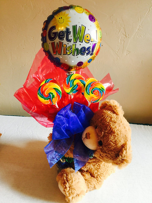 Get Well or Thinking of you Teddy Bear & Lollipop gift bouquet