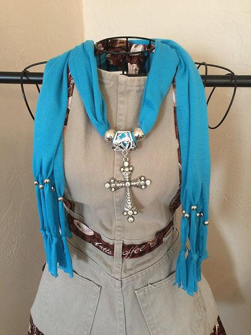 Jewelry Scarf Aqua Cross Pendant