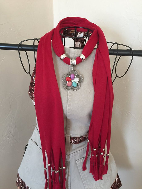 Jewelry Scarf Red with  Flower Pendant
