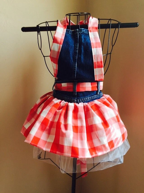 Red Checkered Full Apron (rear view)