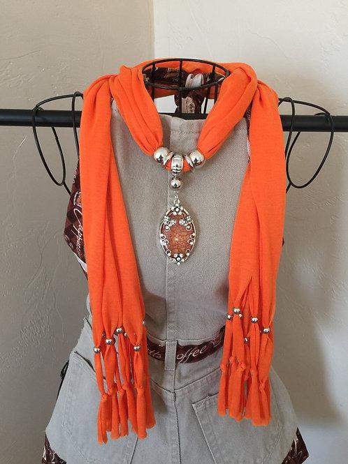 Jewelry Scarf Orange Butterfly Pendant