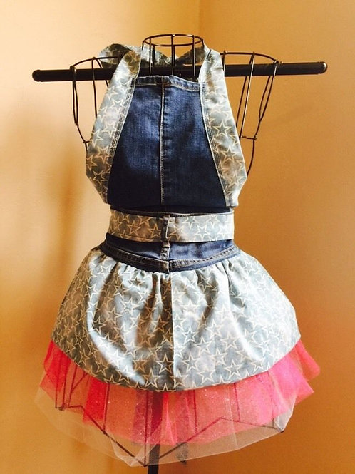 Blue Stars Apron ( Rear view)Maroon and white tulle Petticoat
