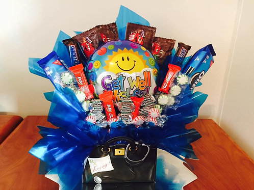 Get Well Special Delivery Balloon & Snack Bouquet