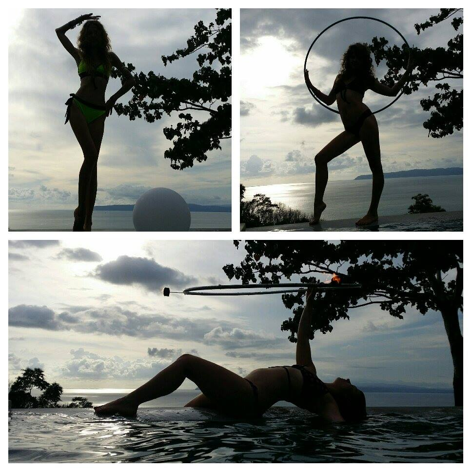 Hula Hooping by the pool