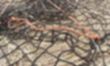 Horse hay net, stringing closed