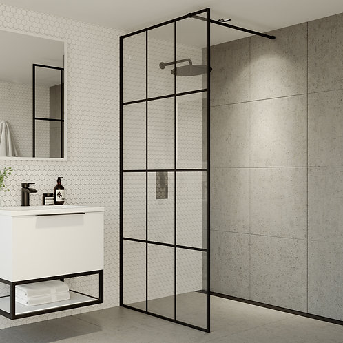 S8 Grid Wetroom Screen 700 x 2000mm Grid Glass