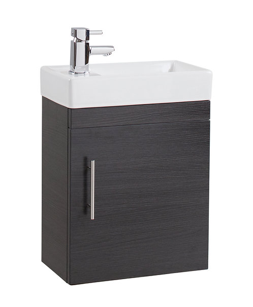 Black Ash Single Door 400mm Basin and Cube Unit -222mm Depth