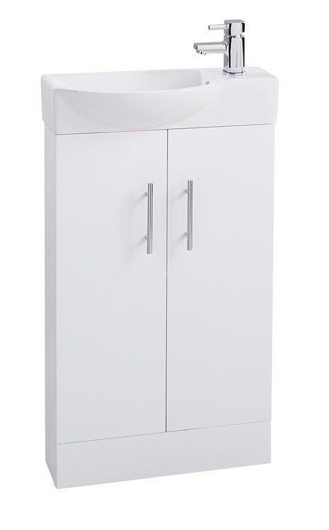White Double Door 500mm Basin and Unit