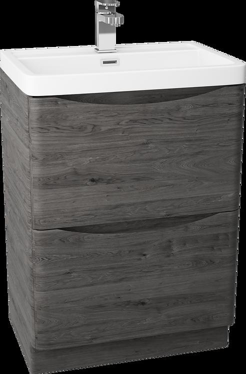 Bali Graphite Oak 600 Floor Standing Cabinet & Polymarble Basin