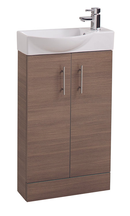 Medium Oak Double Door 500mm Basin and Unit