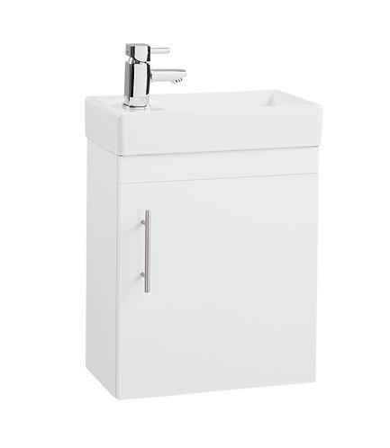 White Gloss Single Door 400mm Basin and Cube Unit -222mm Depth