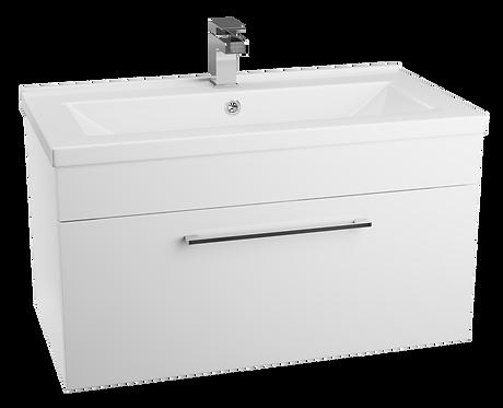 Idon 800 Gloss White 1 Drawer Basin Unit with Polymarble Basin