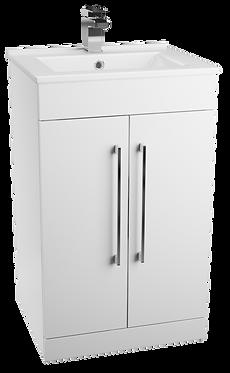 Idon 500 Gloss White 2 Door Basin Unit with Polymarble Basin