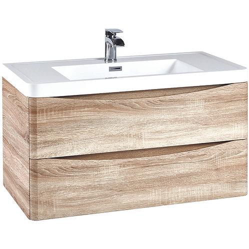 Bella 900 Wall Cabinet With Basin Bardolino Driftwood Oak