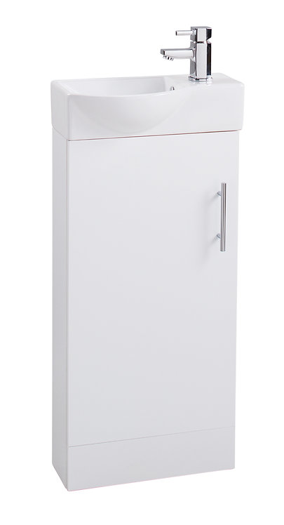 White Single Door 400mm Basin and Unit