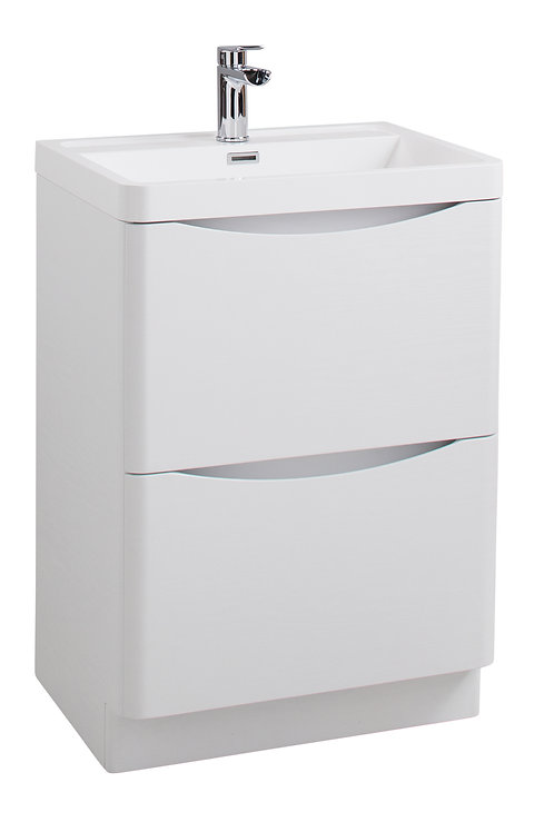 Bali White Ash 600 Floor Standing Cabinet &Polymarble Basin