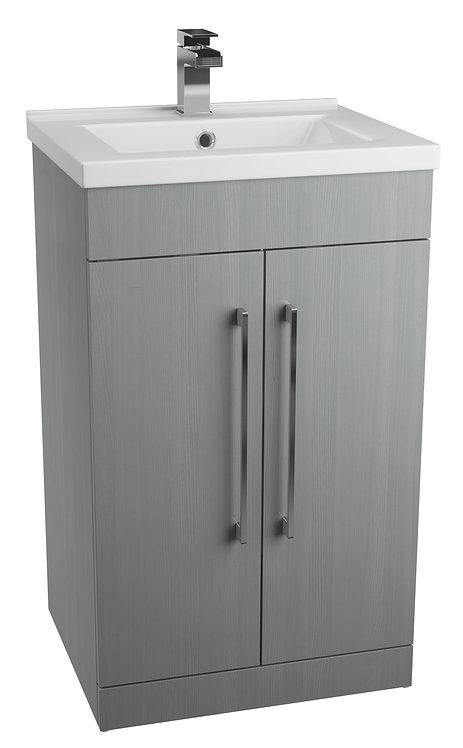 Idon 600 Grey 2 Door Basin Unit with Polymarble Basin