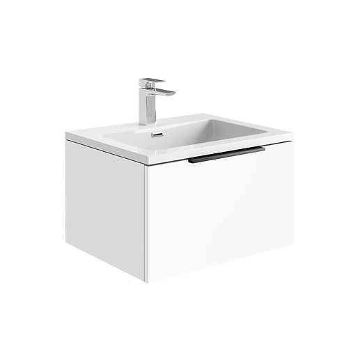Ambience 600 LED Cabinet With Basin Matt White