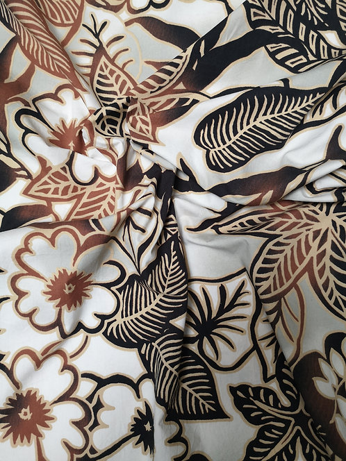 100% Cotton Brown, Cocoa and Cream Floral Printed Fabric