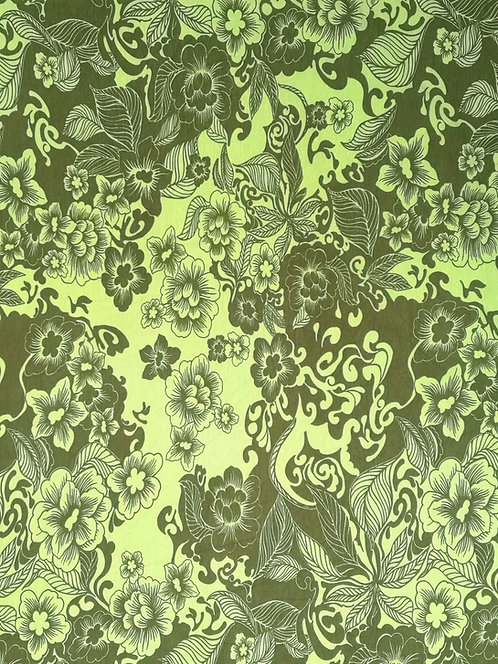 Cotton Elastane Jersey Sage green and Khaki Floral Printed Fabric