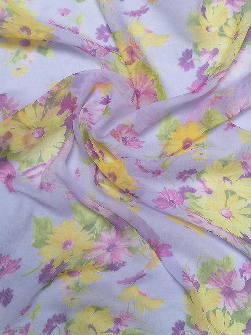Silk Crinkle Chiffon Lilac & Yellow Floral Fabric