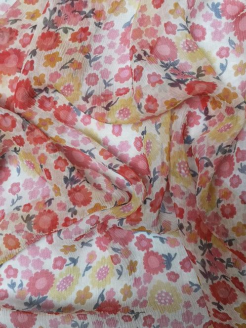 Silk Crinkle Chiffon Cream & Red Floral Fabric