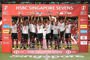 Fiji celebrate the Cup win over Australi