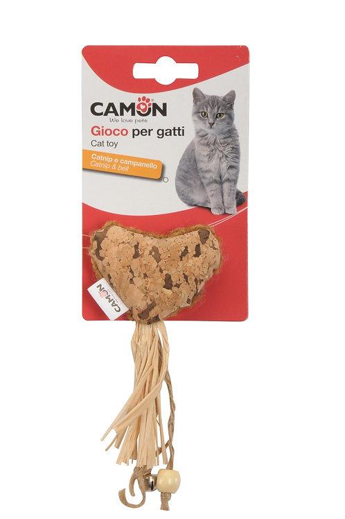 צעצוע קטניפ בצורת לב עם פעמון לחתול