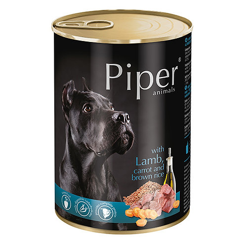 שימור פייפר כבש גזר ואורז חום לכלב בוגר