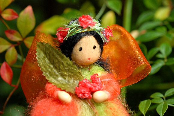 Orange Flower Fairy with Flower Crown
