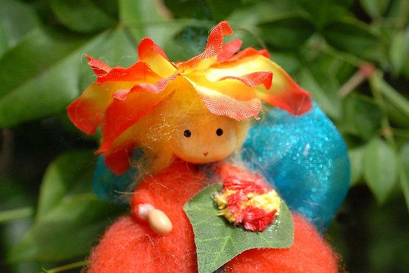 Orange Flower Fairy with Hat