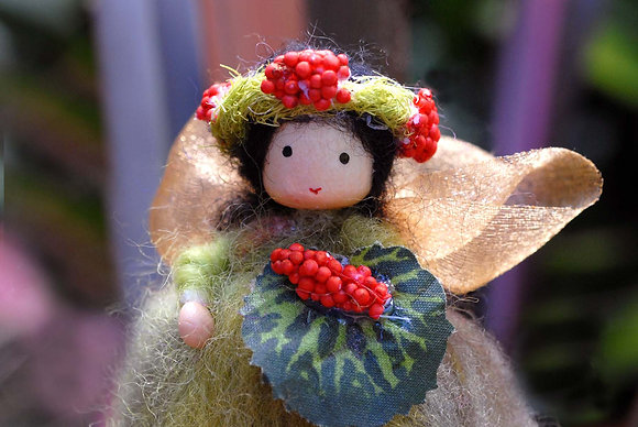 Green Flower Fairy with Berry Crown