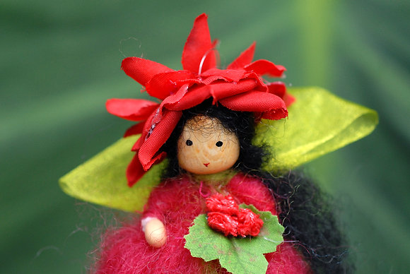 Red Flower Fairy with Flower Hat