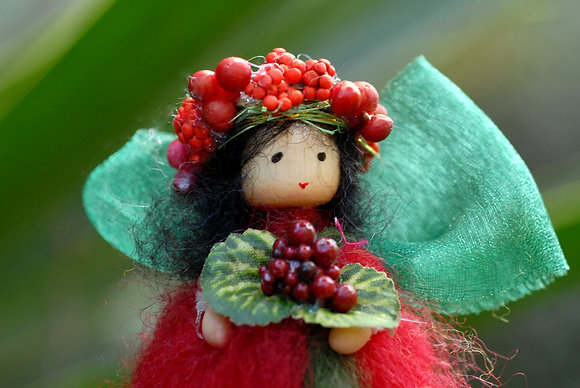 Red Flower Fairy with Berry Crown