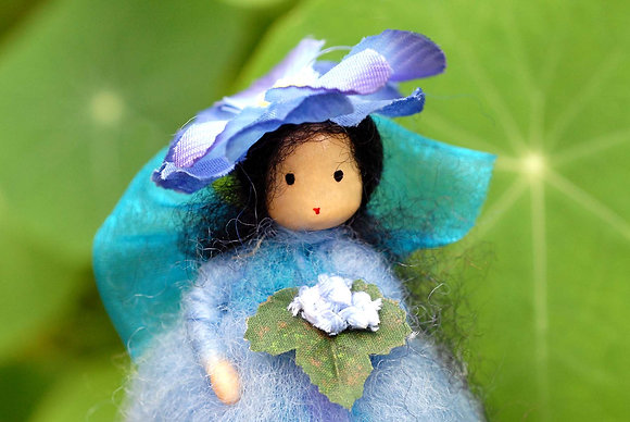 Blue Flower Fairy with Flower Hat