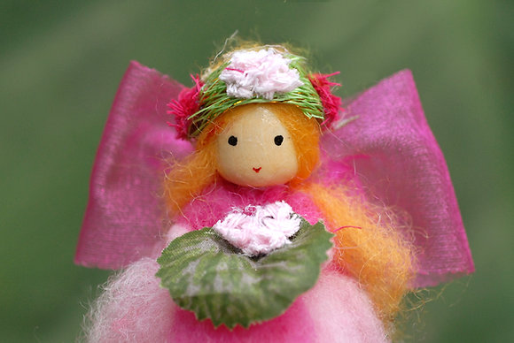 Pink Flower Fairy with Flower Crown