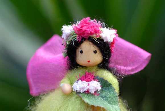 Green Flower Fairy with Flower Crown