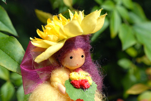 Yellow Flower Fairy with Hat