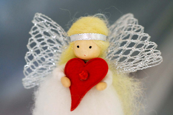 Silver Angel with Love Heart