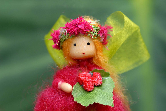 Red Flower Fairy with Flower Crown