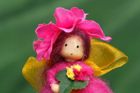 Deep Pink Flower Fairy with Flower Hat