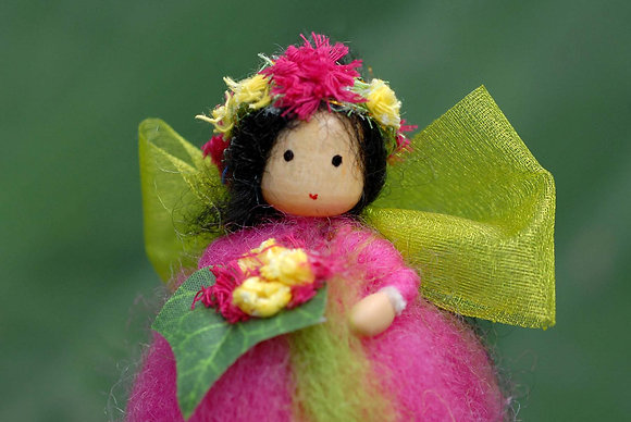 Deep Pink Flower Fairy with Flower Crown