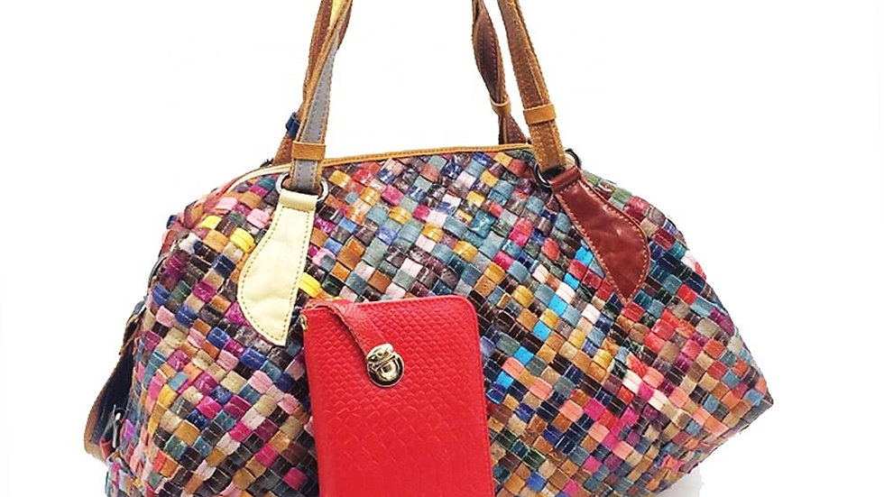 Colorful Patchwork leather duffel
